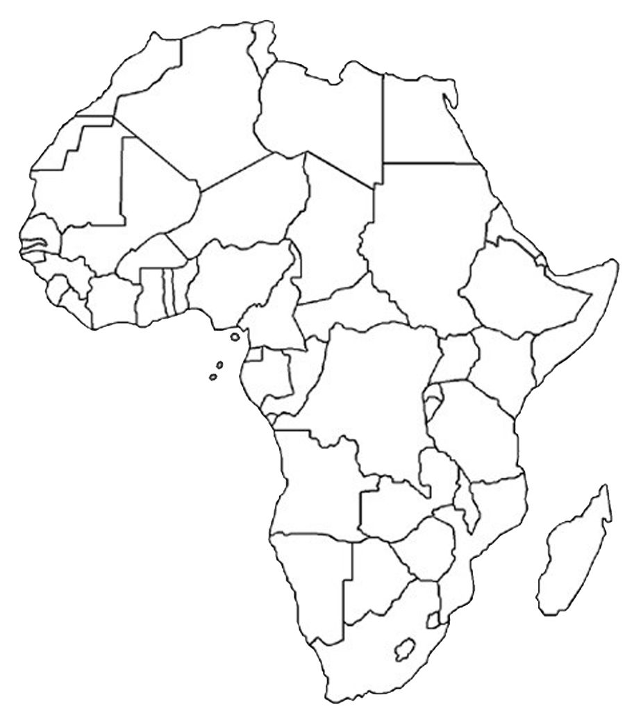 900x1027 Blank Outline Map Of Africa Africa Map Assignment Party