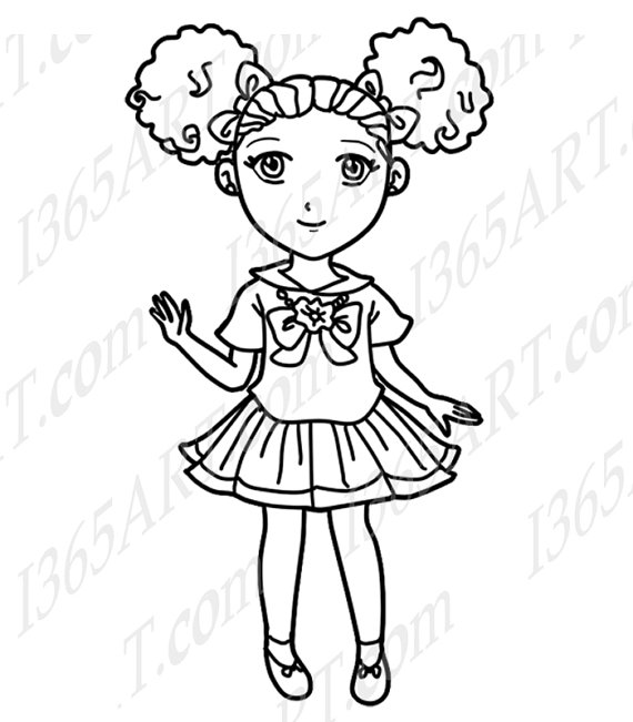 African American Girl Drawing