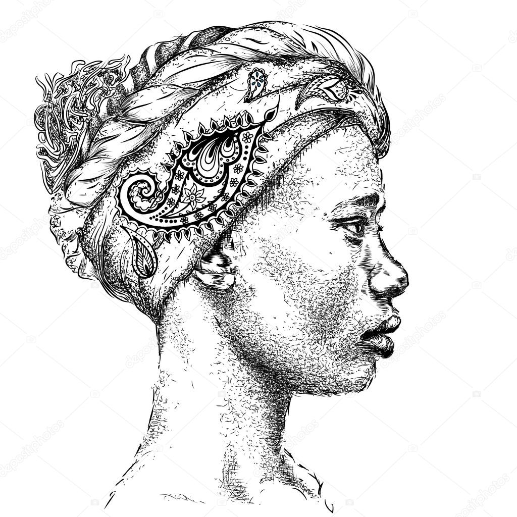 1024x1024 Pretty African American Girl In Turban With Paisley. Beautiful
