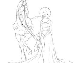 270x210 Fantasy Drawing Of African American Woman Riding Black Unicorn