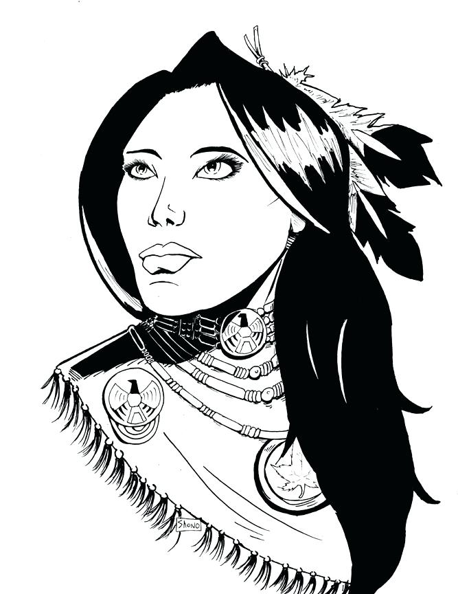 667x864 Native American Drawing Native Woman Inks By Media
