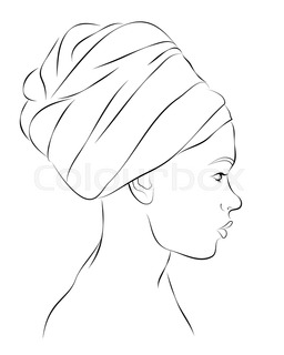 256x320 Profile Portrait Of African American Woman In Turban. Vector