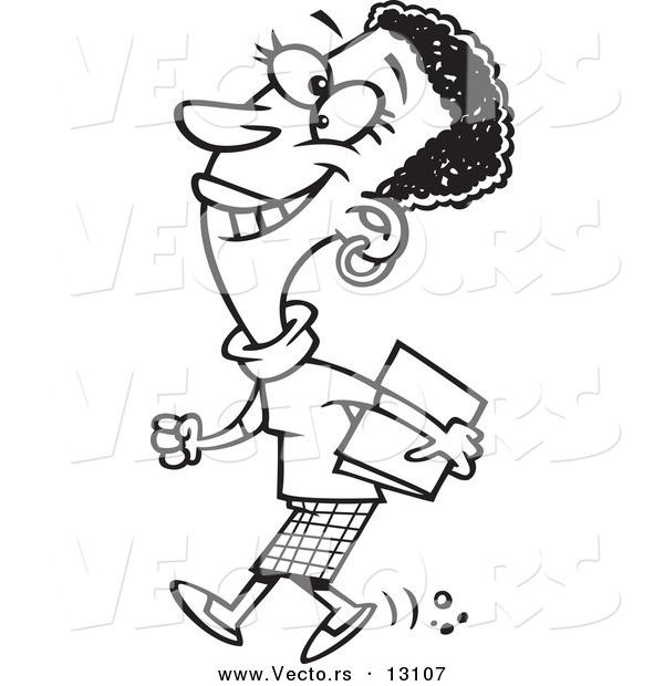 600x620 Vector Of Cartoon Happy Black Business Woman Walking