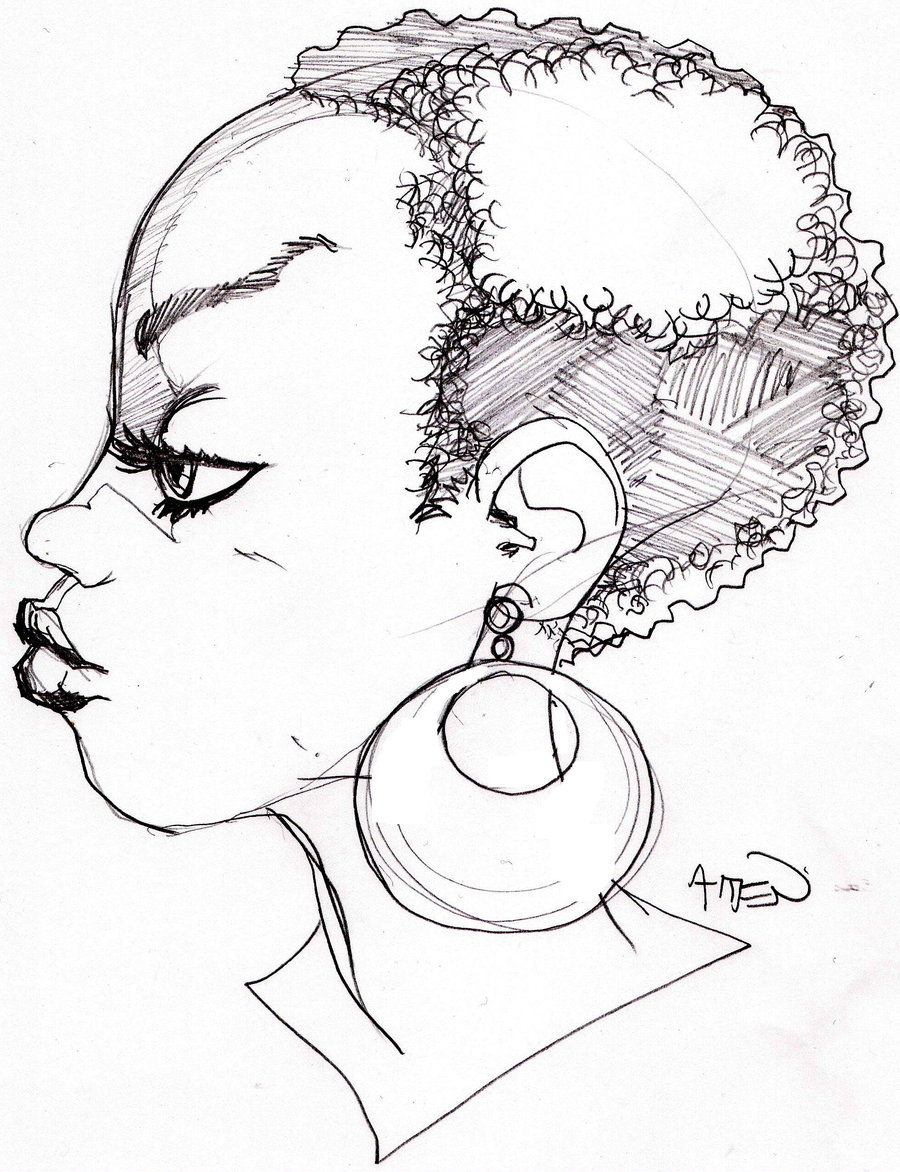 900x1172 Another Girl With An Afro By Samax