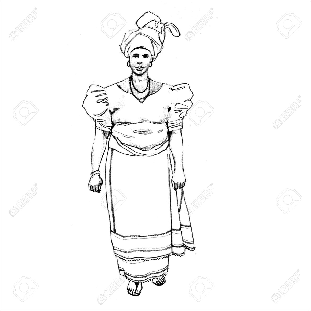 1300x1300 African Woman In Traditional Dress Royalty Free Cliparts, Vectors