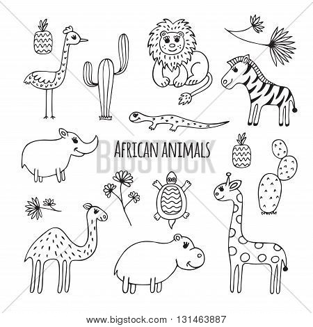 450x470 Cute Vector Set Africa Animals Vector Amp Photo Bigstock