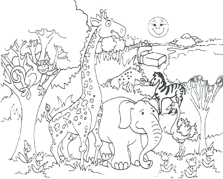 945x760 Free Coloring Sheets Of African Animals