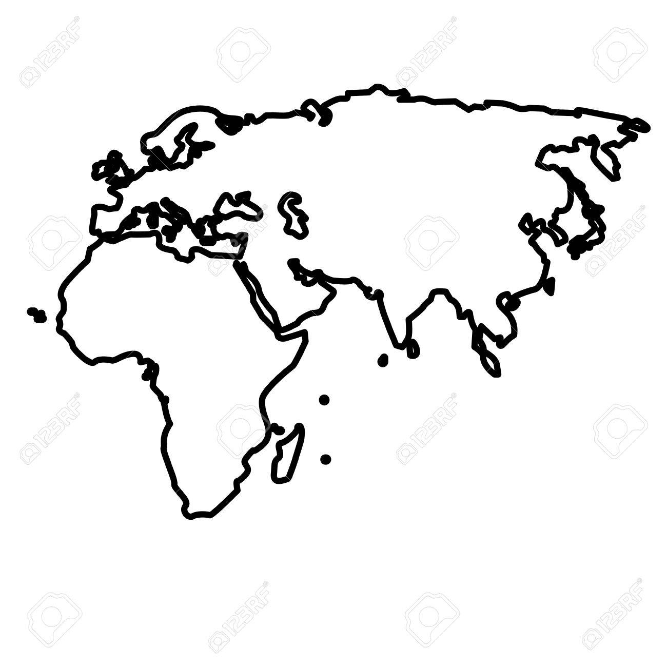 1300x1300 Outline Map European African And Asian Continent Vector