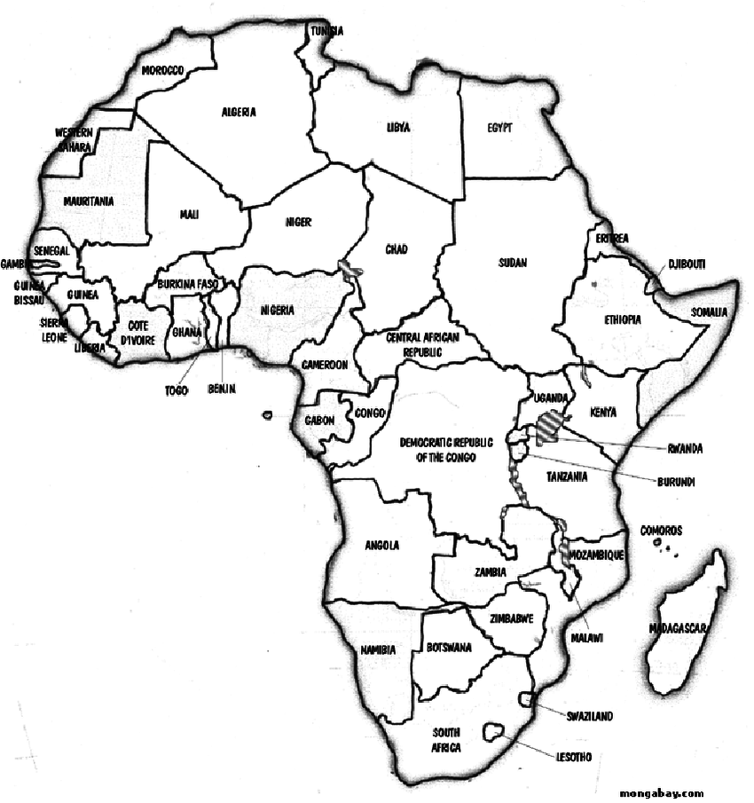 850x905 Political Map Of Countries On The African Continent.