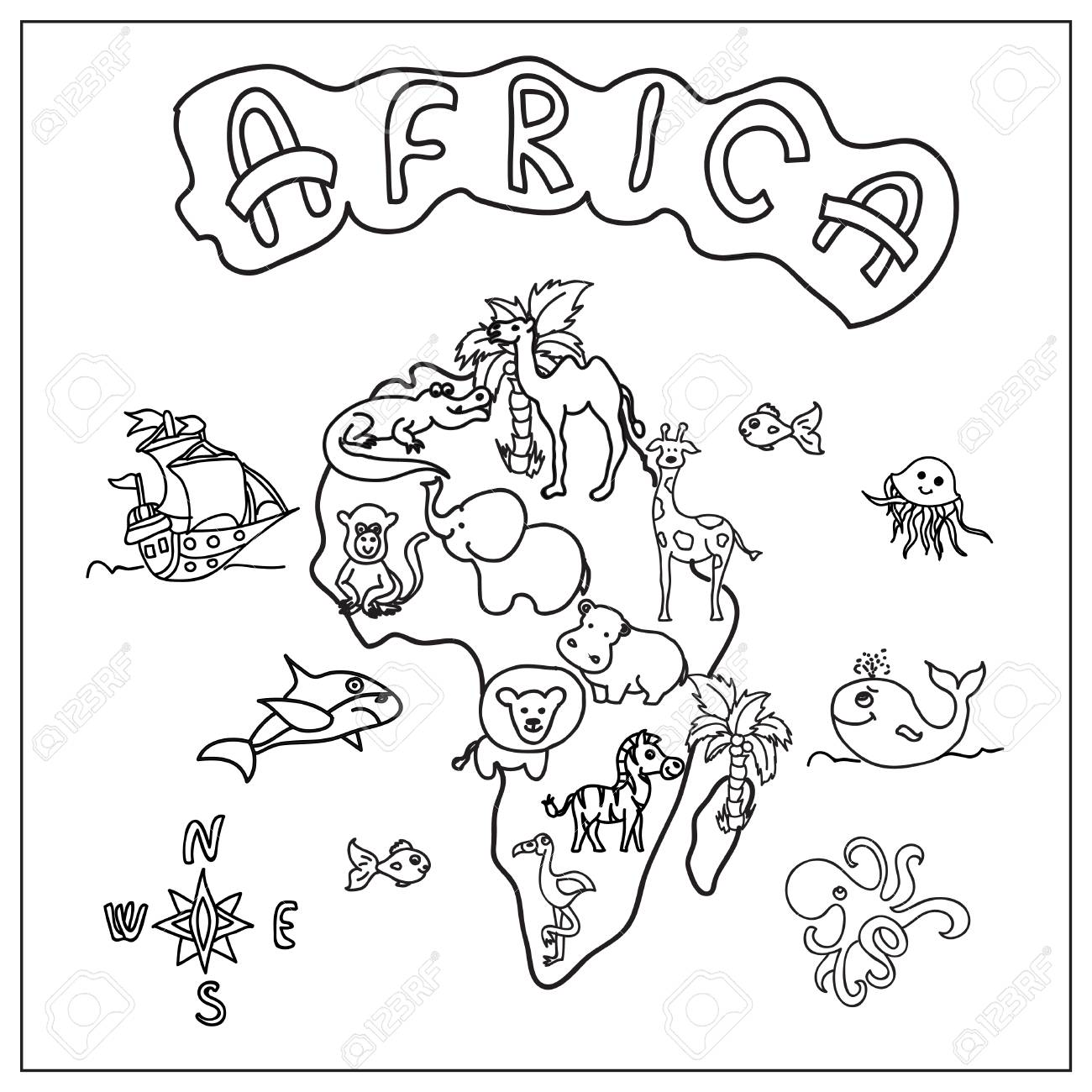 1300x1300 Africa Continent Kids Map Coloring Page Stock Photo, Picture