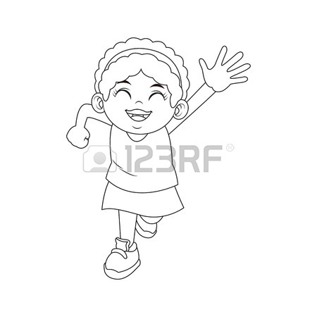 450x450 Cartoon African American Girl With Curly Hair Vector Illustration