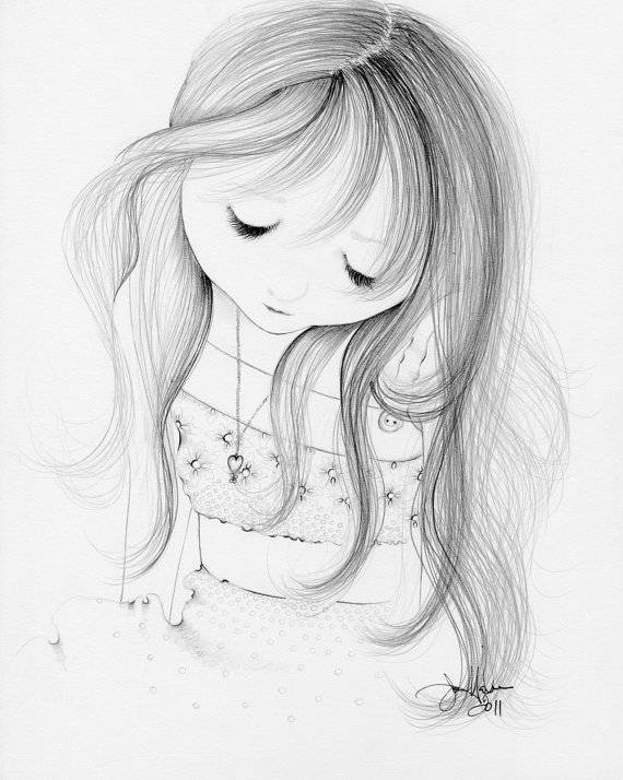 570x714 Nursery Art Drawing Of A Girl Original One Of A Kind Pencil