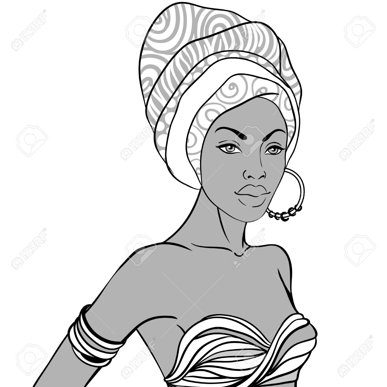 1300x1300 Portrait Of Beautiful African Woman In Turban With Earring Royalty