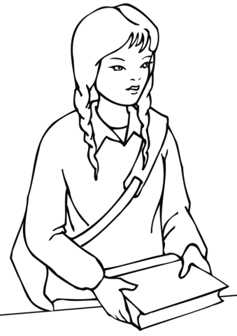339x480 School Girl Coloring Page Free Printable Coloring Pages