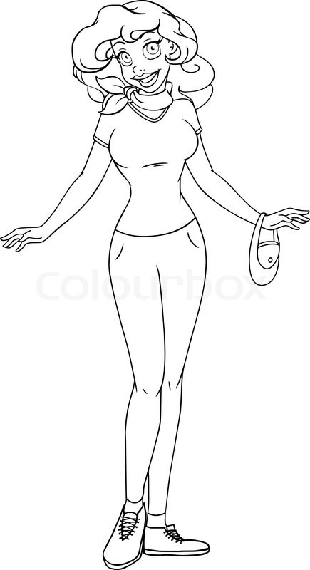 435x800 Vector Illustration Coloring Page Of An African Girl In Tshirt
