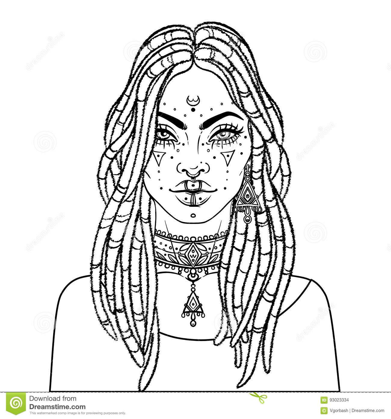 1300x1390 African American Pretty Girl Vector Illustration Black Woman Dread