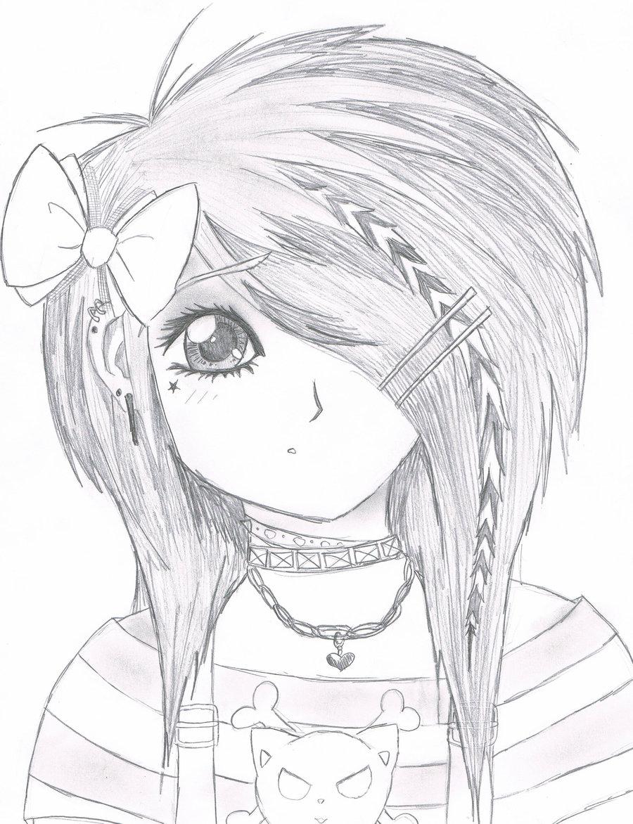 900x1172 Anime Emo Girl Drawing