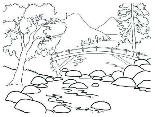 500x376 Landscape Color Pages Mountain Landscape Coloring Pages