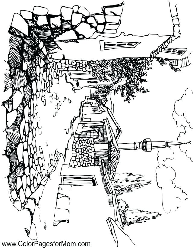640x820 Landscape Coloring Pages Also Mountain Coloring Page Mountain