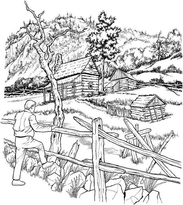 630x706 Printable Landscape Coloring Pages For Adults