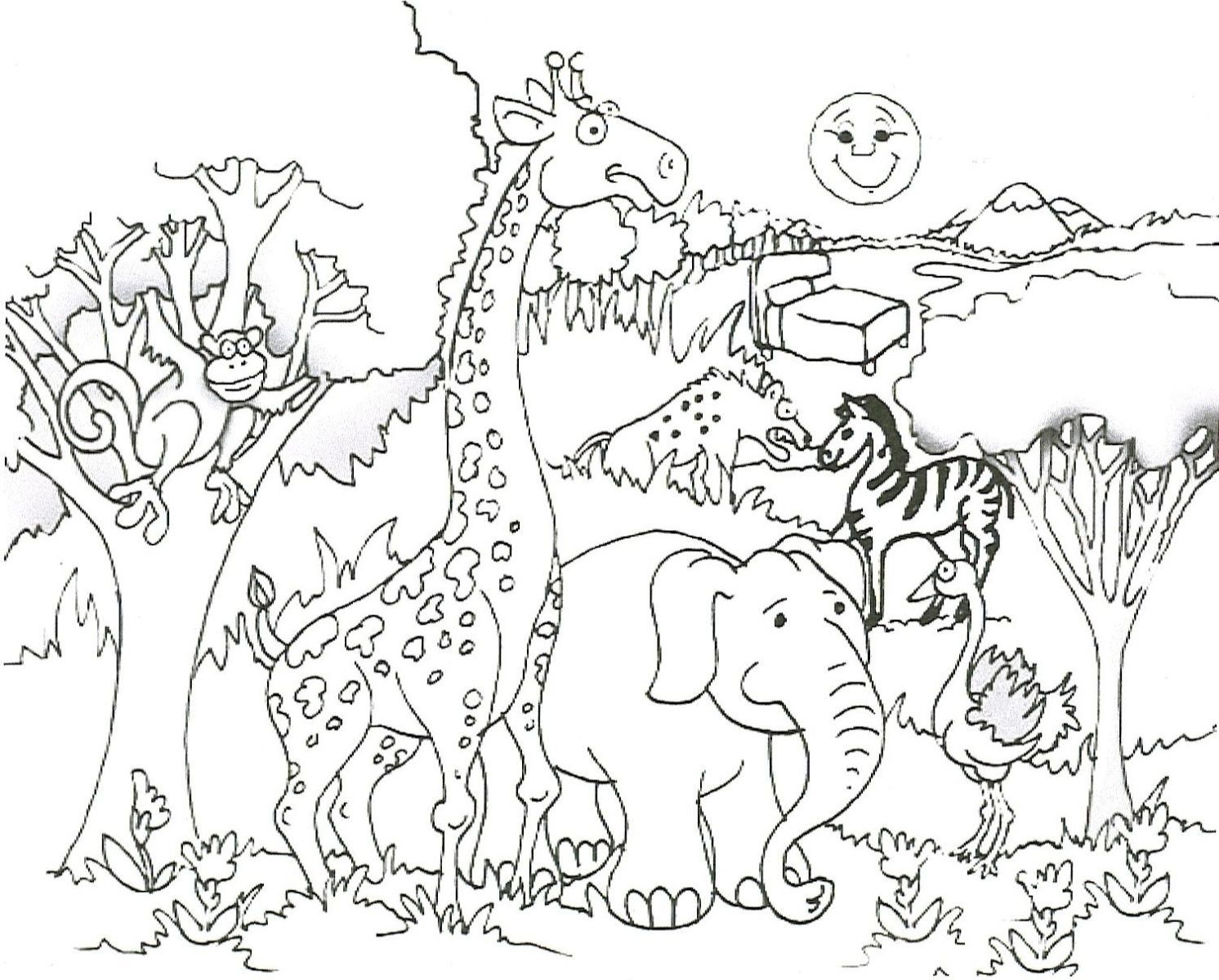 1492x1200 African Landscape Coloring Pages African Savanna Animals Coloring