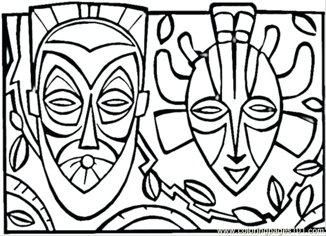 650x471 African Mask Coloring Pages Mask Coloring Page African Mask