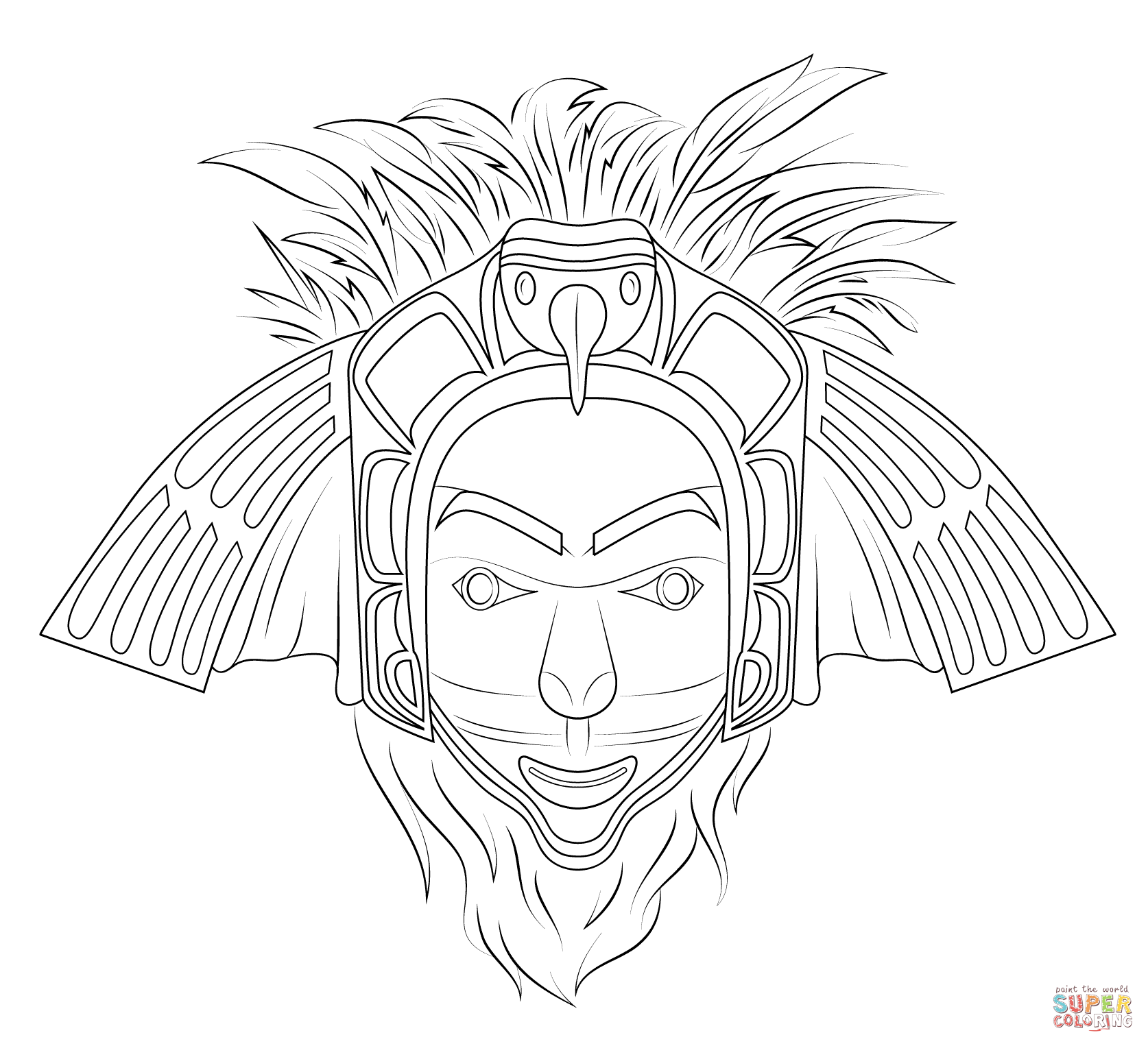 indian tribal masks coloring pages - photo#4