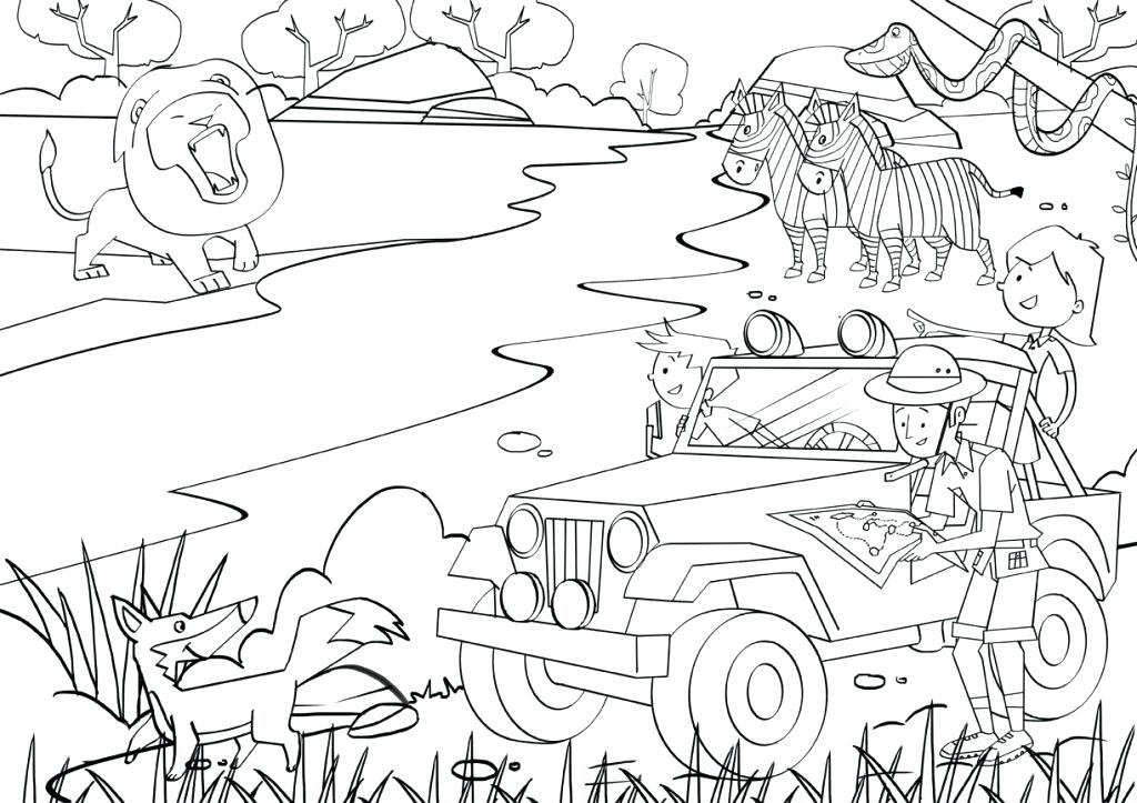 1024x723 Safari Coloring Pages Trend Safari Coloring Pages With Additional