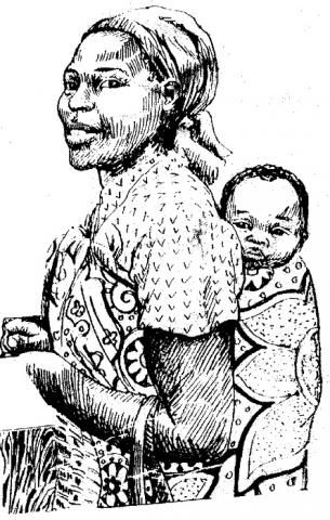African Woman Drawing
