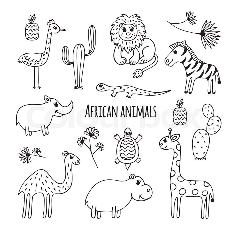 800x800 cute vector set of africa animals in cartoon style black and