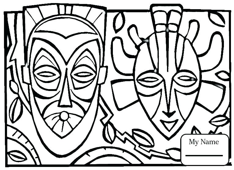 765x555 African Mask Coloring Pages Mask Coloring Page African Mask