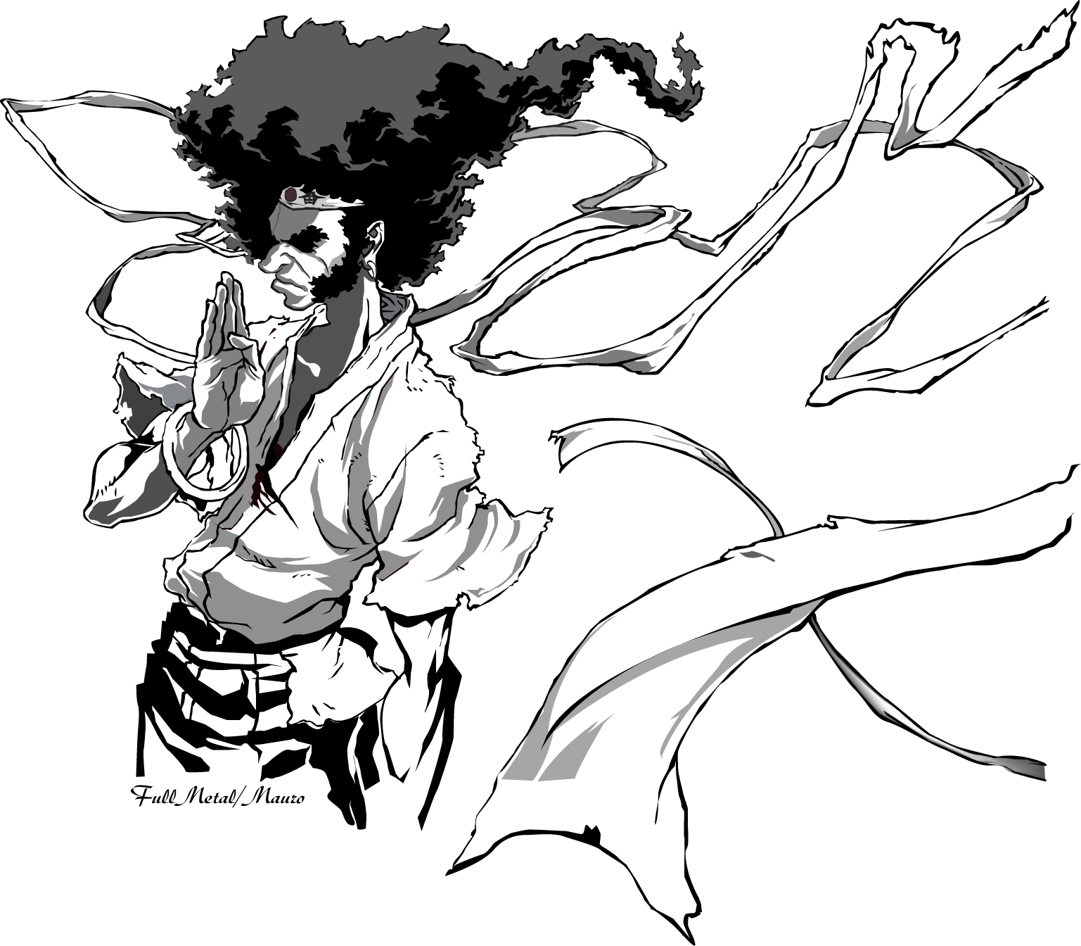 1537x1344 Afro Samurai Drawings Afro Samurai Drawing Style