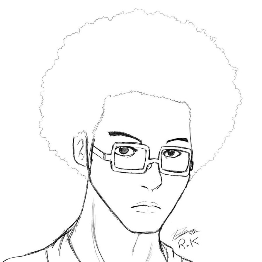 894x894 Afro Guy With Eyeglassed Bnw By Reijubv