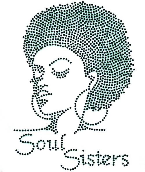 500x591 Black) Soul Sisters Afro Girl Lady Rhinestone Transfer