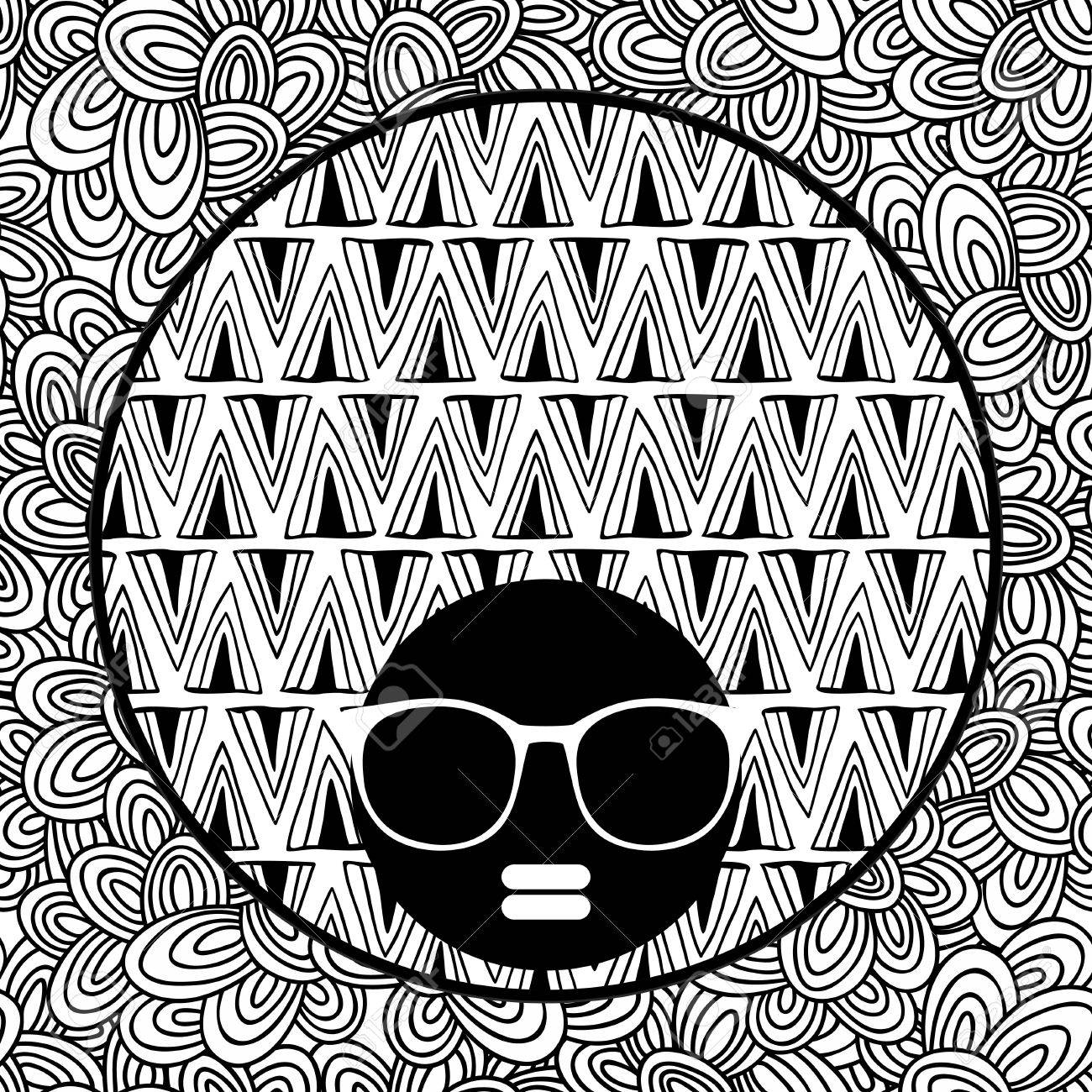 1300x1300 Doodle Pattern With Black Skin Woman In Sunglasses For Coloring