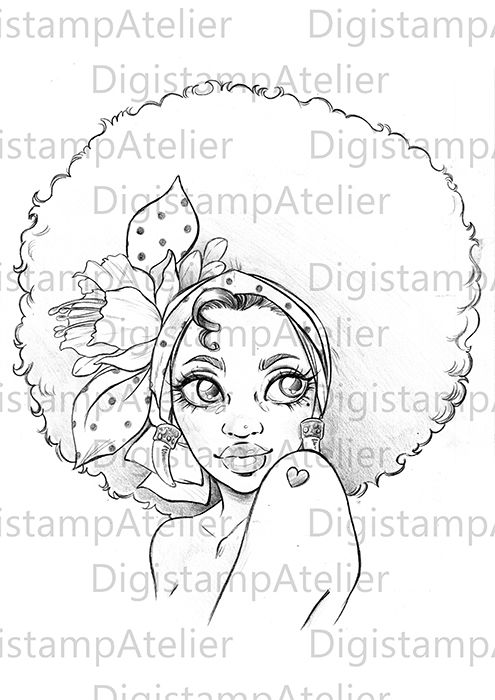 495x700 Afro Girl Coloring Page. Digistamps. African Coloring Pages