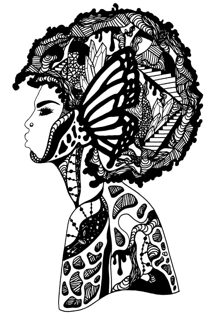 735x1080 The Most Beautiful Afro Woman Art In Black Amp Gold
