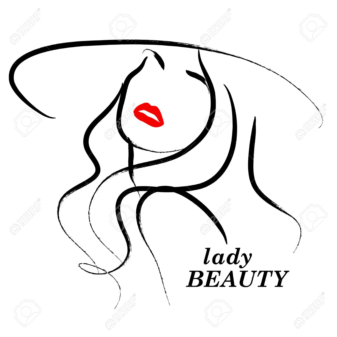 1300x1300 Vector Hand Drawn Beautiful Lady In Hat Portrait Isolated