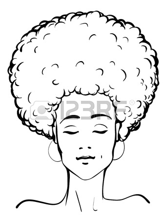 338x450 Vector Illustration Of A Young Afro American Lady Royalty Free