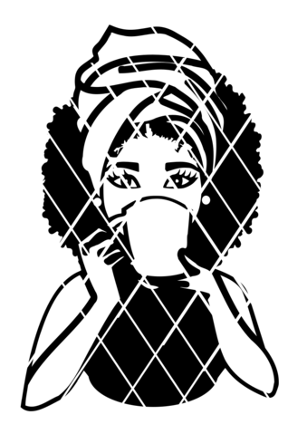 339x479 Woman Drinking With Mug Svg,afro Puff Svg,headwrap Svg,g,sistah