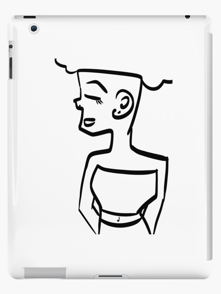 750x1000 Afro Hair Woman Line Drawing Ipad Cases Amp Skins By Frankie H