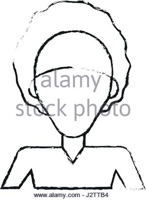 300x410 Silhouette Half Body Afro Girl With Curly Hair Vector Illustration