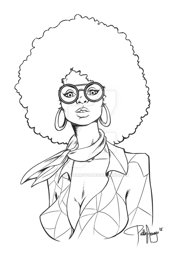 600x842 Afro Chick Inked Version By Pattyarroyo