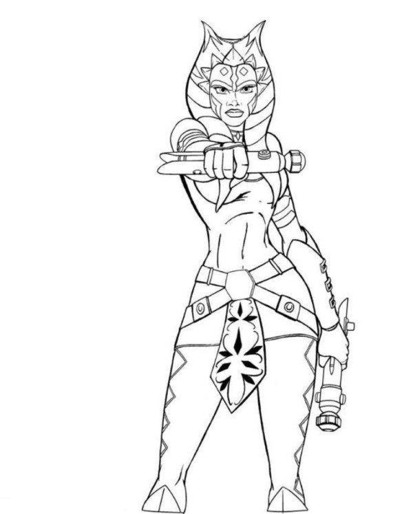 600x746 Ahsoka And Anakin Star Wars Coloring Pages Colouring To Sweet Draw