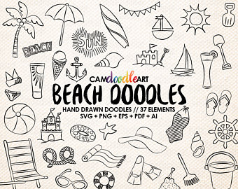 340x270 37 Beach Doodles Vector Pack, Hand Drawn Doodle Clipart ,beach