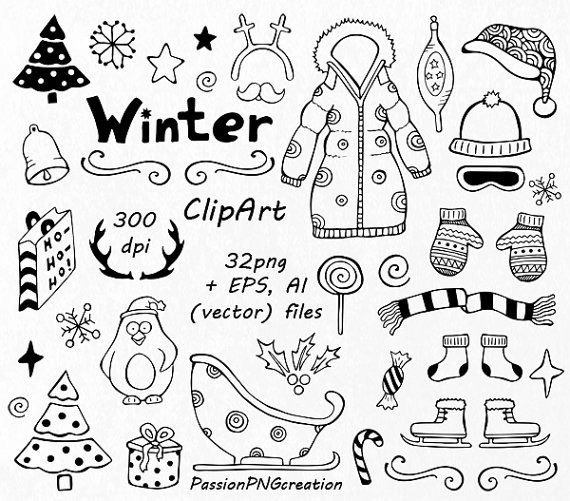 570x501 Winter Doodle Clipart, Hand Drawn Christmas Clip Art, Clipart, Png