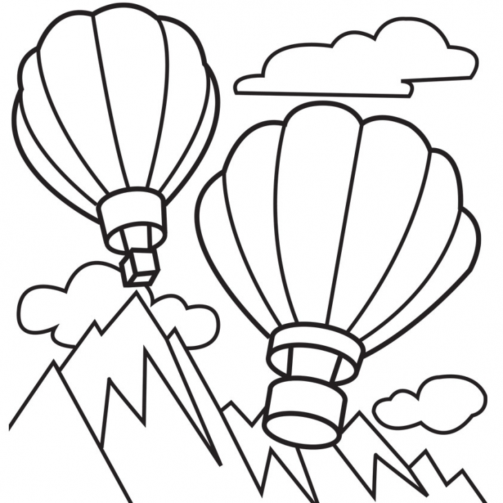 730x730 Hot Air Balloons Flying Above Mountains Coloring Page