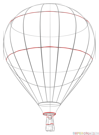 422x575 How To Draw A Hot Air Balloon Step By Step. Drawing Tutorials