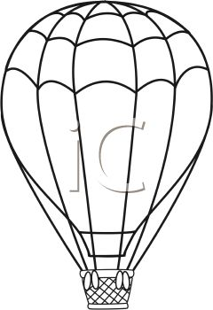 240x350 Black And White Line Drawing Of A Hot Air Balloon