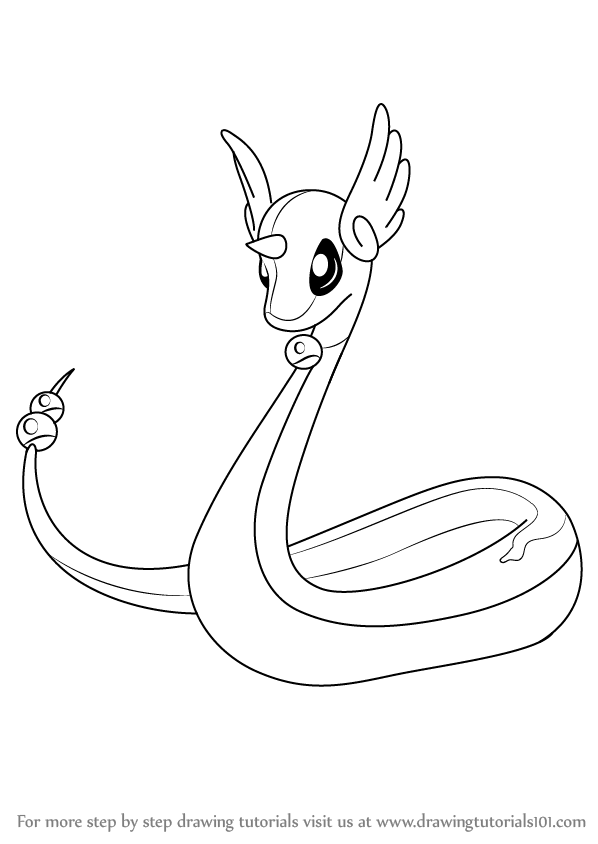 598x844 Learn How To Draw Dragonair From Pokemon (Pokemon) Step By Step